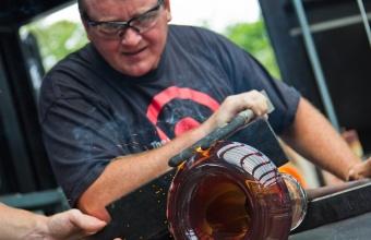 Gaffer George Kennard works with Masamichi Udagawa and Sigi Moeslinger at GlassLab in Corning