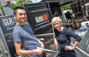 Designers Sigi Moeslinger and Masamichi Udagawa at GlassLab in Corning, June 2012