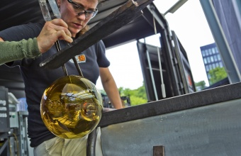 Glassmaker Annette Shepard works with designer Jon Otis at GlassLab in Corning, July 2012