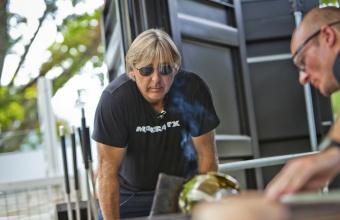 Glassmaker G Brian Juk works with designer Jon Otis at GlassLab in Corning, July 2012