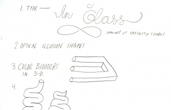 Designer Mike Perry's design drawings for GlassLab on Governor's Island, 2012