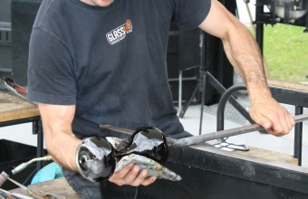 Marc Barreda works on an hourglass prototype by designer Beat Karrer