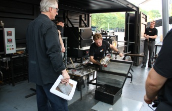 Designer Paul Haigh at GlassLab in Corning, 2012