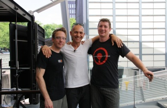 Designer Josh Owen with gaffers Chris Rochelle and Aaron Jack at GlassLab in Corning, May 2012