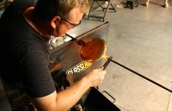 Gaffer George Kennard works on a design prototype by Harry Allen for GlassLab