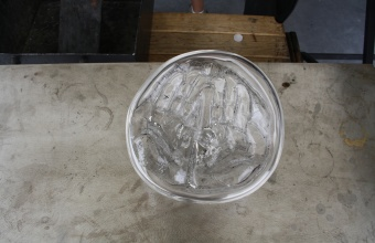 Bowl with hand imprint prototype by designer Harry Allen for GlassLab