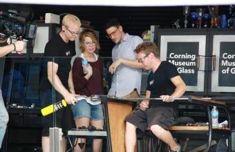 Designers Keetra Dean Dixon and JK Keller at GlassLab on Governors Island