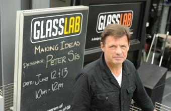 Illustrator Peter Sís at GlassLab in Corning, June 2012