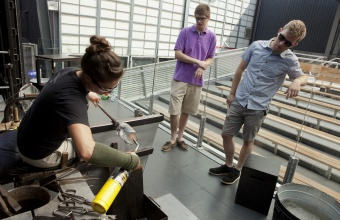 RIT Metaproject students Dan Ipp and Tom Zogas at GlassLab in Corning, July 2012