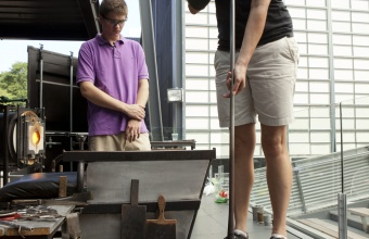 RIT Metaproject student Tom Zogas at GlassLab in Corning, July 2012