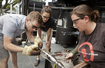 RIT Metaproject student Dan Ipp at GlassLab in Corning, July 2012