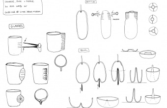 Design drawing by Max Lamb for GlassLab at Vitra Design Museum, Art Basel 2010