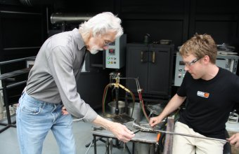 Designer Wendell Castle in a GlassLab design session in Corning, May, 2013