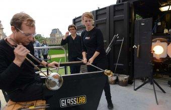 Designer Constance Guisset in a GlassLab design session in Paris, 2013. Photo credit Diedi von Schaewen.