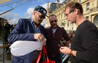 Designers Antoine Audiau and Manuel Warosz in a GlassLab design session in Paris, 2013. Photo credit Diedi.