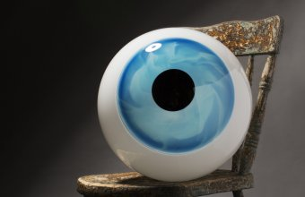 A giant eye designed by Sigga Heimis for GlassLab