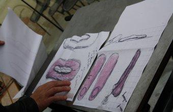 Designer Sylvain Dubuisson  in a GlassLab design session in Paris, 2013.