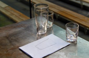 Pint glass and whiskey glass designs by Bridget Sheehan