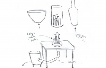 Design for a complex kick in glass by Dan Ipp and Tom Zogas for GlassLab
