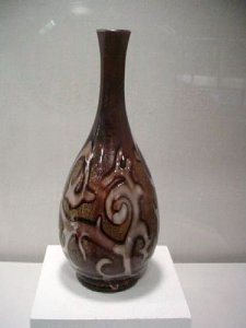 Federzeichnung Vase in Octopus or Victoria Pattern