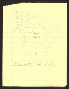 [Pencil sketch by Labino of design for Icosahedron sculpture] [art original].