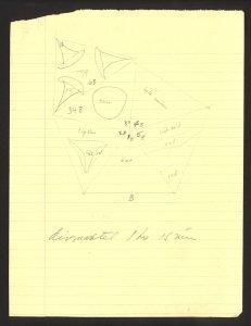 [Pencil sketch by Labino of design for Icosahedron sculpture] [art original].