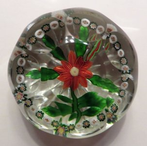 Paperweight with Red Clematis
