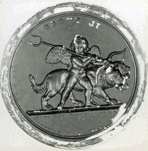Seal of a Putto with Two Lions