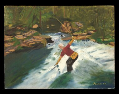 [Self portrait of Dominick Labino fly fishing in stream] [art original].