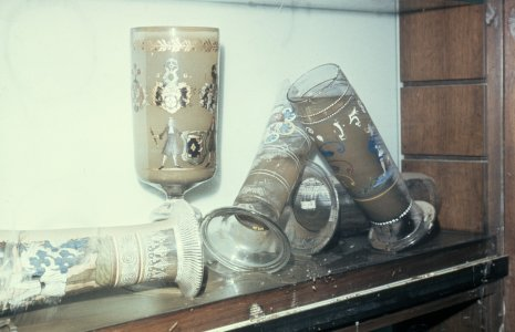 [German drinking glasses filled with floodwater] [slide].