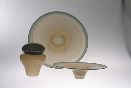 Bowl, plate, and vase with lid [slide].