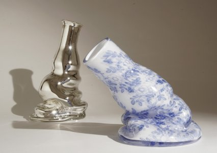 Still life melt down- silver and china [picture].