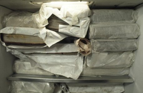 [Books are wrapped then frozen to prevent the growth of mold and bacteria, view 7] [slide].