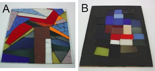 Color palette of glass pieces for American Airlines Terminal window, Kennedy International Airport