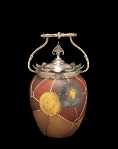 Royal Flemish Cracker Jar with Coin Decoration and Lid
