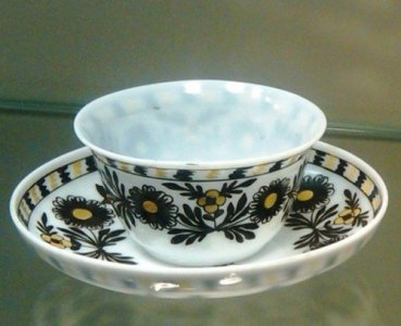 Teacup and Saucer with Enameled Floral Decoration