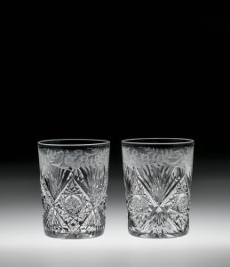 """2 Tumblers in """"Cut No. 1 and Engraved"""" Pattern"""