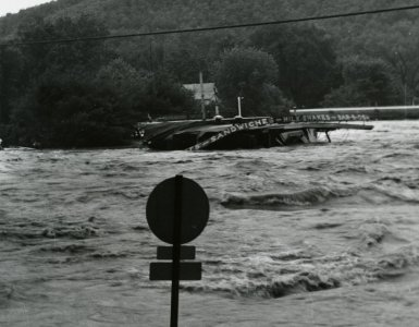 [King's Dairy surrounded by floodwater, June 23, 1972] [picture].