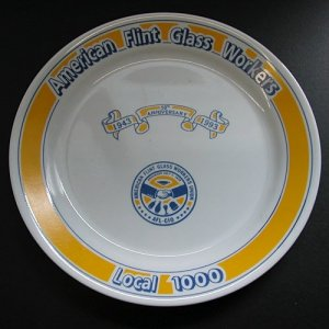 50th Anniversary Corelle Plate Honoring the American Flint Glass Workers, Local 1000