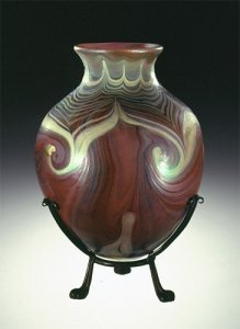 """Favrile """"Agate"""" Vase with Bronze Mount"""