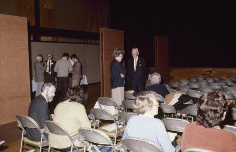 [CMG Seminar 1980] [slide]: [seminarians chatting in the auditorium].