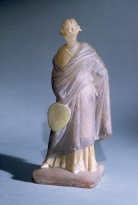 Tanagra-Style Female Figure Holding a Fan