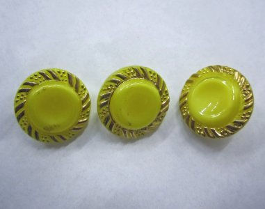 3 Pearlescent Yellow Gilt Buttons