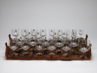 Musical Glasses in a Wooden Case