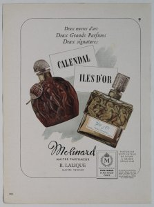 [Calendal and Iles d'or perfumes by Molinard] [advertisement].