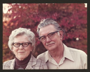 [Dominick and Elizabeth Labino with fall foliage in background] [picture].