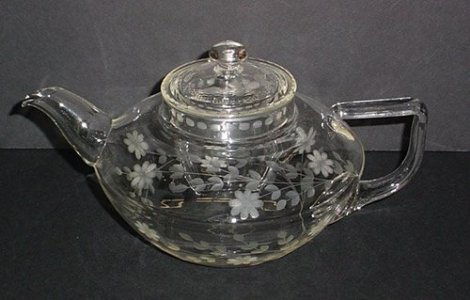Engraved Pyrex Squat-shaped Teapot with Lid