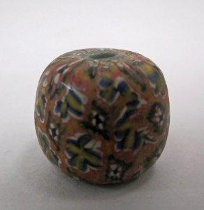 Millefiori Bead with Multicolored Checkerboard Design