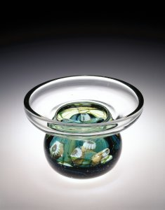 Favrile Aquamarine Paperweight Vase with Sea Life