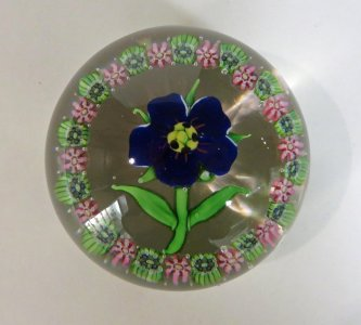 Paperweight with Blue Geranium